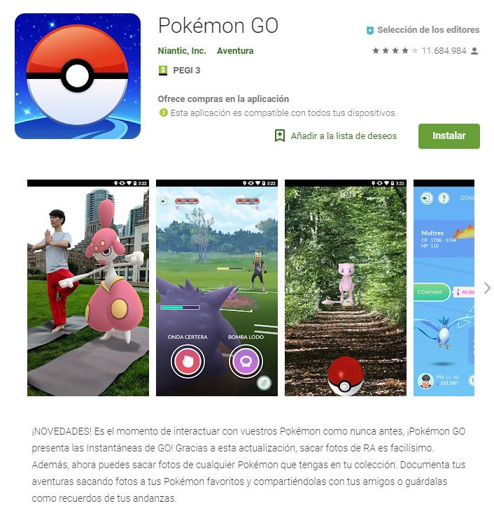 Requisitos mínimos Android pokemon go