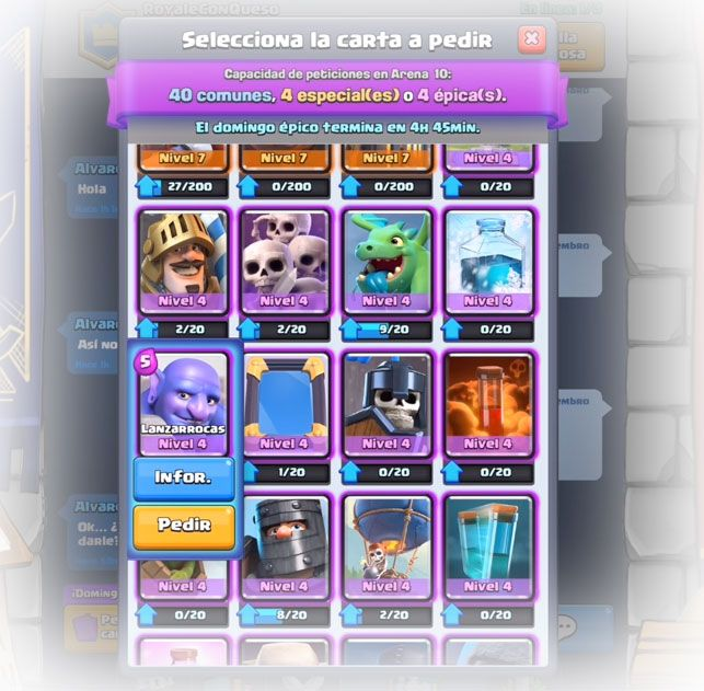 Donando Cartas en clash royale en el clan