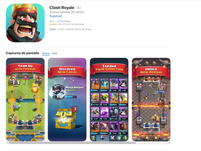 requisitos ios clash royale