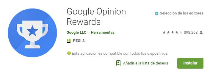 Completando opiniones con google rewards
