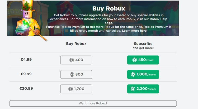 purchasing robux