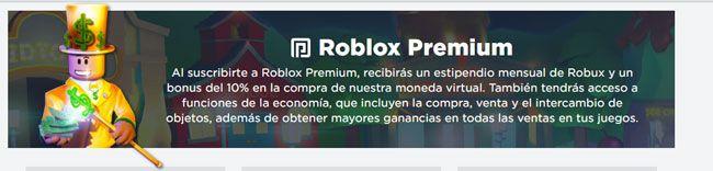 Debes formar parte de roblox premium