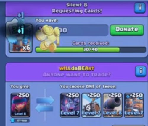 donating cards at clash royale