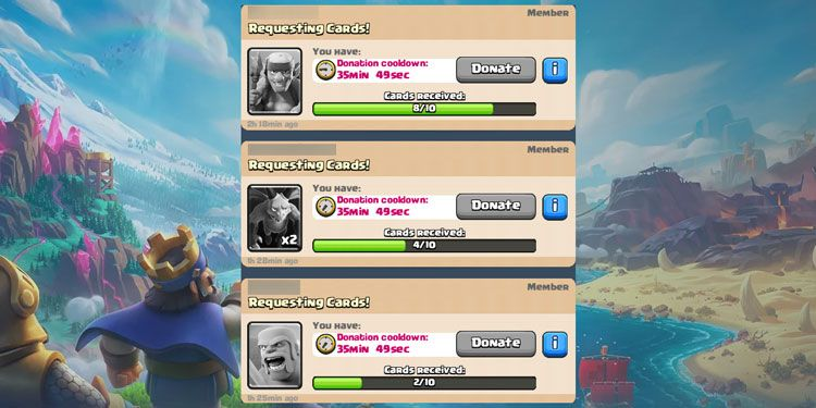 Donate cards in the clan